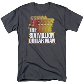 SIX MILLION DOLLAR MAN RUN FAST - S/S ADULT 18/1 - CHARCOAL T-Shirt