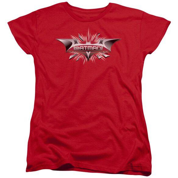 Dark Knight Beveled Chrome Shield Short Sleeve Womens Tee Red T-Shirt