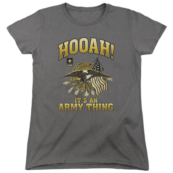 Army Hooah Short Sleeve Women's Tee Charcoal T-Shirt