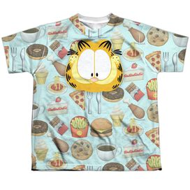 Garfield Cat Food Short Sleeve Youth Poly Crew T-Shirt