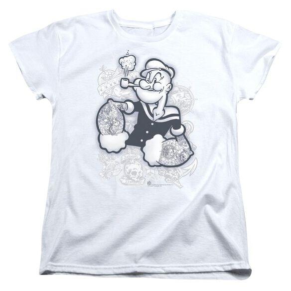 POPEYE TATTOOED - S/S WOMENS TEE - WHITE T-Shirt