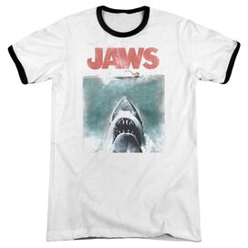 Jaws Vintage Poster Adult Ringer White Black