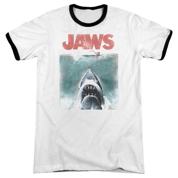 Jaws Vintage Poster Adult Ringer White Black