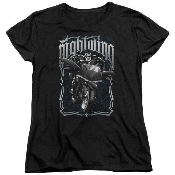 Batman Nightwing Biker Short Sleeve Womens Tee T-Shirt