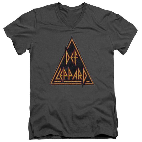 Def Leppard Distressed Logo Short Sleeve Adult V Neck T-Shirt
