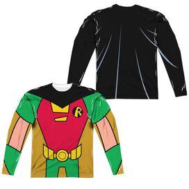 Teen Titans Go Robin Uniform (Front Back Print) Long Sleeve Adult Poly Crew T-Shirt