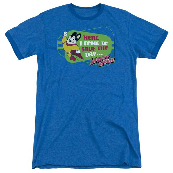 Mighty Mouse Here I Come - Adult Heather Ringer - Royal Blue