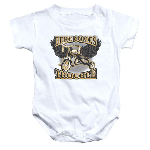Here Comes Trouble Infant Snapsuit White Md