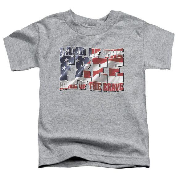 Land Of The Free Short Sleeve Toddler Tee Athletic Heather Md T-Shirt