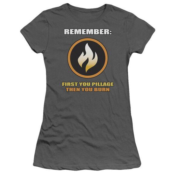 First You Pillage Short Sleeve Junior Sheer T-Shirt