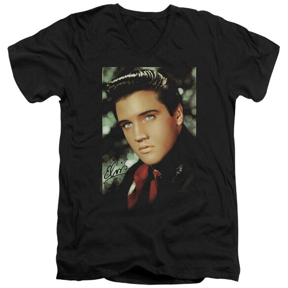 Elvis Red Scarf Short Sleeve Adult V Neck T-Shirt