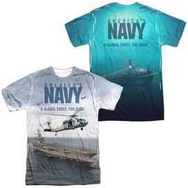 Navy Over And Under (Front Back Print) Short Sleeve Adult Poly Crew T-Shirt