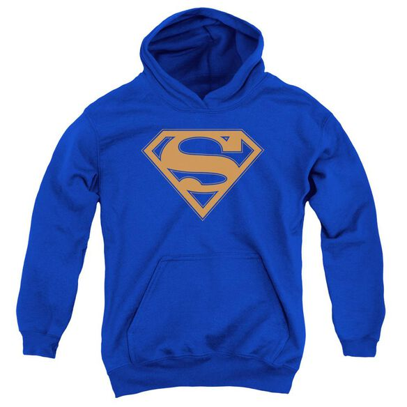 Superman & Orange Shield Youth Pull Over Hoodie Royal