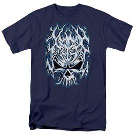 Flaming Chrome Skull Short Sleeve Adult T-Shirt