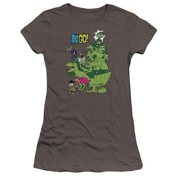 Teen Titans Go Beast Boy Stack Hbo Short Sleeve Junior Sheer T-Shirt