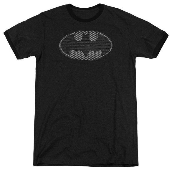 Batman Chainmail Shield Adult Heather Ringer