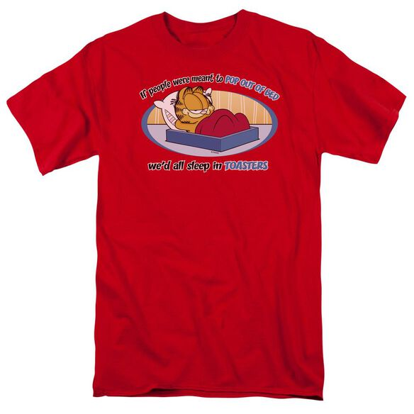 Garfield Pop Out Of Bed Short Sleeve Adult Red T-Shirt