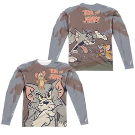 Tom And Jerry Up To No Good (Front Back Print) Long Sleeve Adult Poly Crew T-Shirt