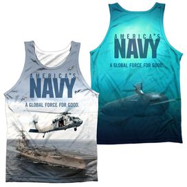 Navy Over And Under (Front Back Print) Adult 100% Poly Tank Top