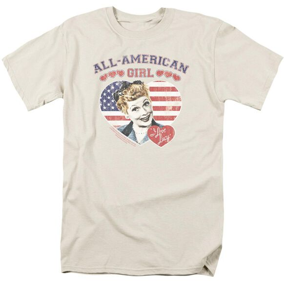 I Love Lucy All American Short Sleeve Adult Cream T-Shirt