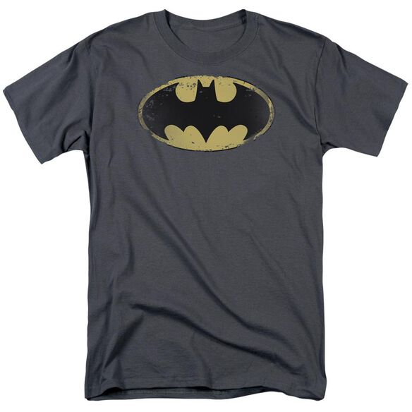 Batman Distressed Shield Short Sleeve Adult T-Shirt