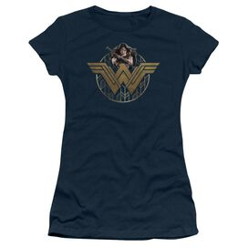 Wonder Woman Movie Power Stance And Emblem Short Sleeve Junior Sheer T-Shirt