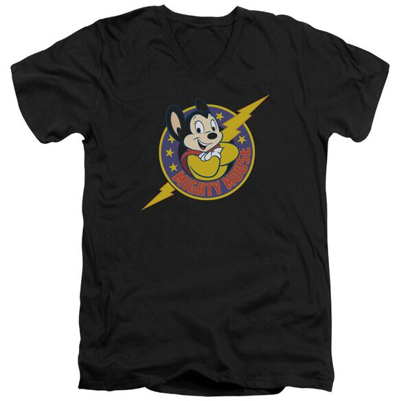 Mighty Mouse Mighty Hero Short Sleeve Adult V Neck T-Shirt