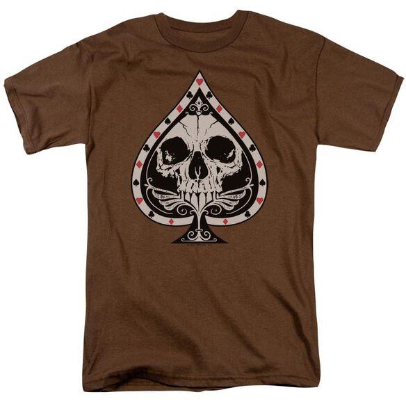 Skull Spade Short Sleeve Adult Coffee T-Shirt