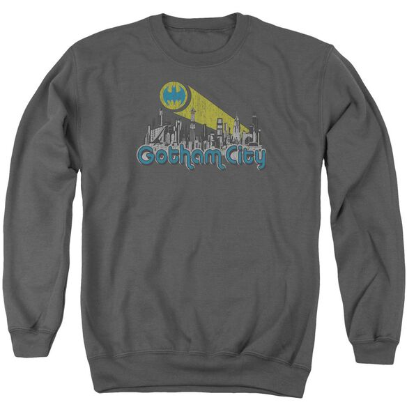 Batman Gotham City Distressed - Adult Crewneck Sweatshirt - Charcoal