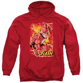 Jla Flash Lightning Adult Pull Over Hoodie