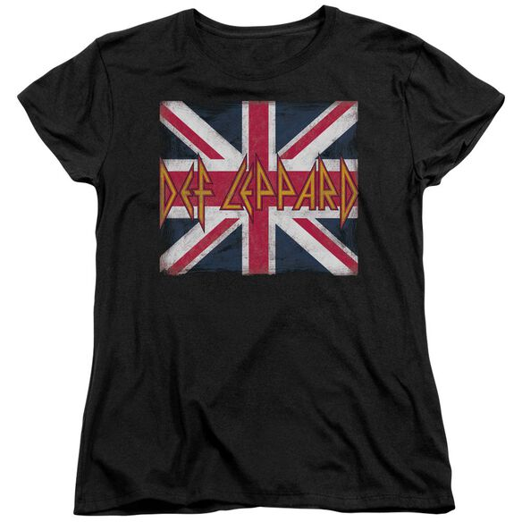 Def Leppard Union Jack Short Sleeve Womens Tee T-Shirt