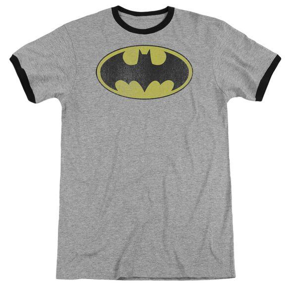 Dc Retro Bat Logo Distressed Adult Ringer Heather Black