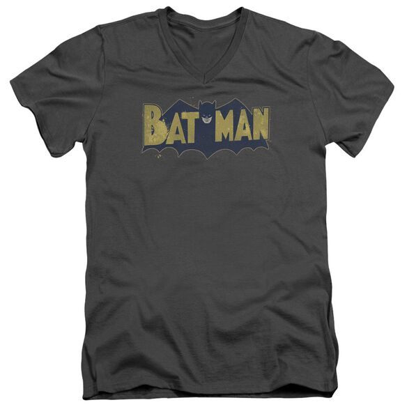 Batman Vintage Logo Splatter Short Sleeve Adult V Neck T-Shirt