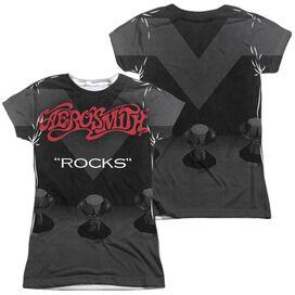 Aerosmith Rocks (Front Back Print) Short Sleeve Junior Poly Crew T-Shirt