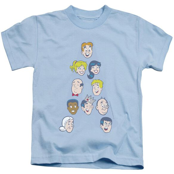 Archie Comics Character Heads Short Sleeve Juvenile Light Blue Md T-Shirt