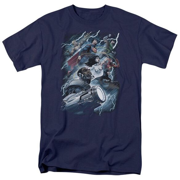 Jla Ride The Lightening Short Sleeve Adult T-Shirt