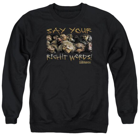 Labyrinth Say Your Right Words Adult Crewneck Sweatshirt