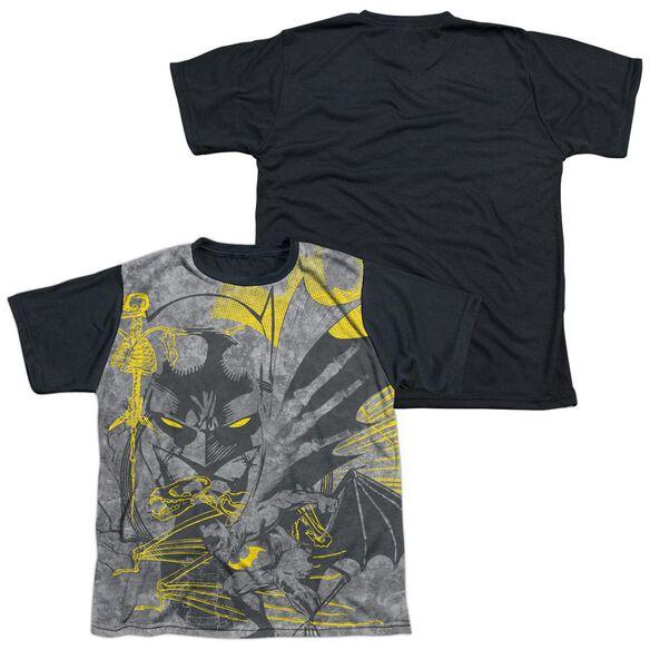Batman Symbiotic Short Sleeve Youth Front Black Back T-Shirt