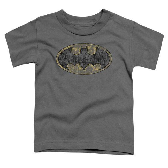 Batman Tattered Logo Short Sleeve Toddler Tee Charcoal Md T-Shirt