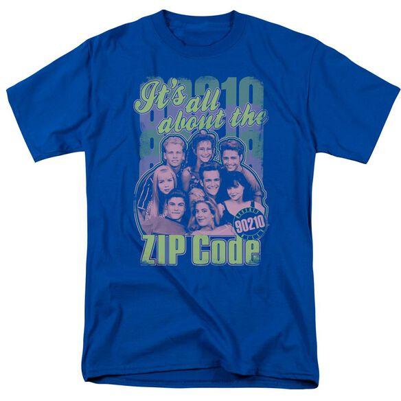 90210 Zip Code Short Sleeve Adult Royal T-Shirt