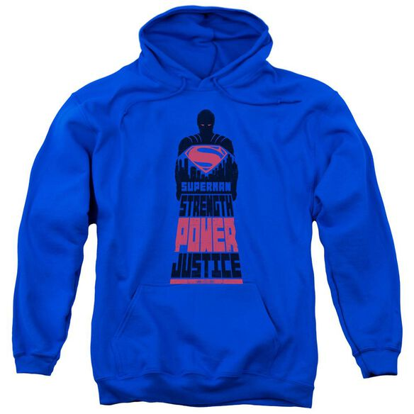 Batman V Superman Super Justice Adult Pull Over Hoodie Royal