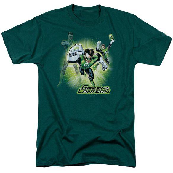 Jla Lantern Burst Short Sleeve Adult Hunter T-Shirt