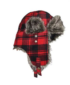 Buffalo Plaid Brushed Trapper Hat with Faux Fur