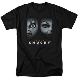 BRIDE OF CHUCKY HAPPY COUPLE - S/S ADULT 18/1 - BLACK - 4X - BLACK T-Shirt