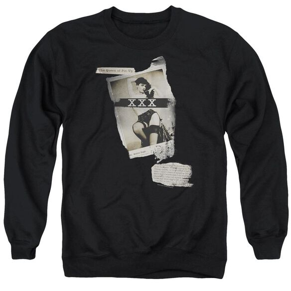 Bettie Page Newspaper &Amp; Lace Adult Crewneck Sweatshirt