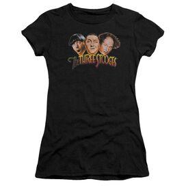 Three Stooges Three Head Logo Short Sleeve Junior Sheer T-Shirt