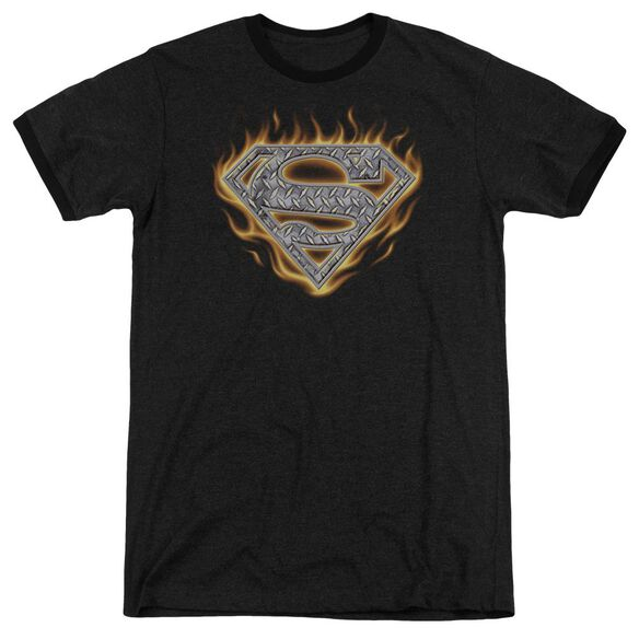 Superman Steel Fire Shield Adult Heather Ringer