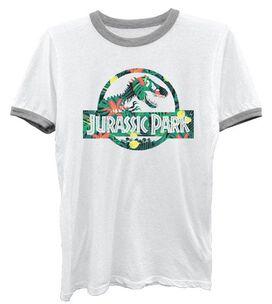 Jurassic Park Floral Ringer Juniors T-Shirt