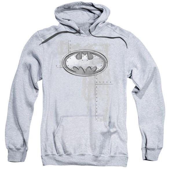 Batman Rivited Metal Logo Adult Pull Over Hoodie Athletic