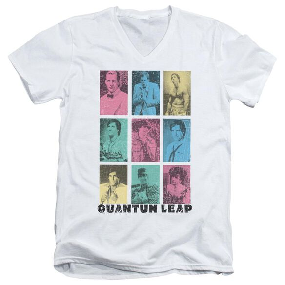 Quantum Leap Faces Of Sam Short Sleeve Adult V Neck T-Shirt